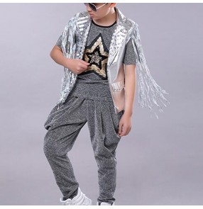 Boy silver sequin jazz dance hiphop dance costumes street drummer model show stage performance ds dj tops and harem pants