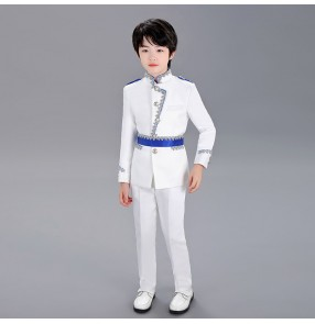 Boy singers chorus performance coats pants England style white suit European style Prince Charming piano performance Christmas Performing costume
