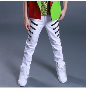 Boy street jazz dance rivet pants kids children modern dance stage performance drummer hiphop singers gogo dancers trousers