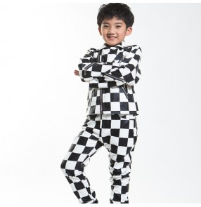 Boy street  modern dance outfits leather England style black and white plaid drummer singer stage performance competition jacket and pants