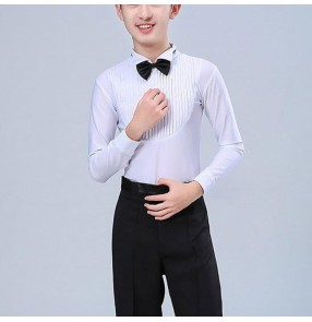 Boy white children latin dance shirt kids children ballroom dancing stage performance leotard body tops