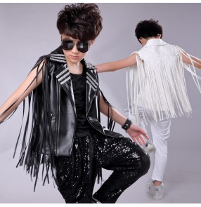 Boy white leagher fringes jazz dance hiphop costumes street dance drummer model show stage performance tops vests and pants