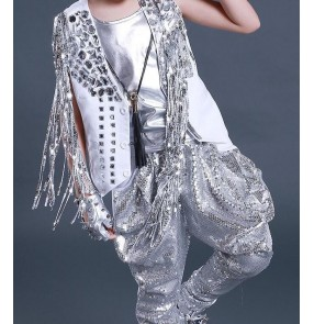 Boy white silver sequins jazz hip hop street dance costumes kids children drummer singers host stage performance outfits