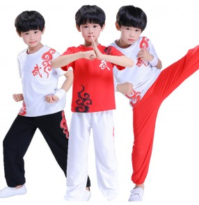 Boys children traditional Chinese wushu kungfu uniforms school  stage performance exercises training suits costumes