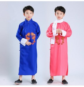 Boys Chinese ancient traditional performance costumes kids children comic drama cosplay dragon robes school competition new year party dancing tops