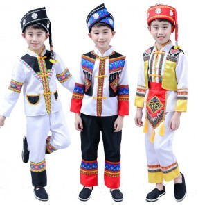Boys chinese folk dance costumes ancient traditional Miao Hmong minority stage performance drama cosplay dress
