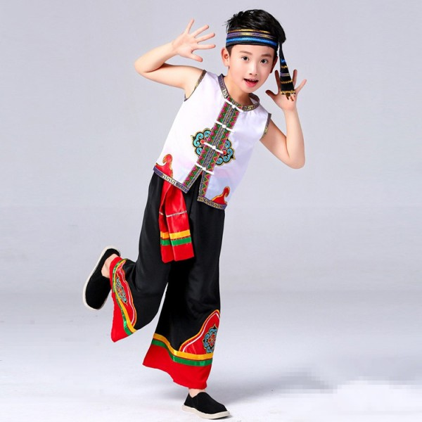 0cf278791f41 Boys chinese folk dance costumes for kids children china ancient ...