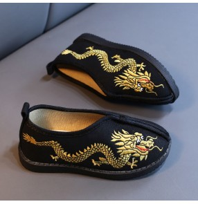 Boys Chinese Hanfu stage show cosplay shoes Handmade cloth shoes for kids Ethnic chinese kung fu wushu performance gold dragon embroidered shoes for students