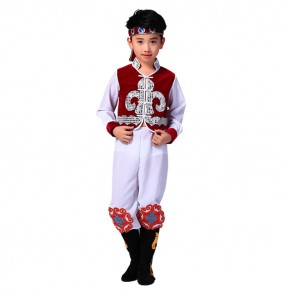 Boys Chinese national Mongolian dance costumes children kids photos stage performance drama cosplay clothes robes