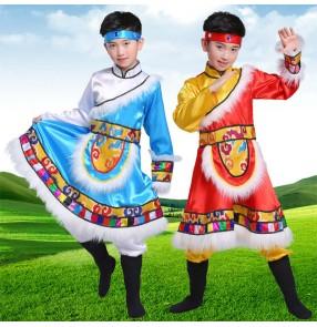 Boys Chinese Tibetan dance costume children grassland Tibetan skirt minority Tibetan kids Lhasa Zhuoma performance costume