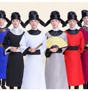 Boys Chinese traditional Tang Dynasty Costume Hanfu Children Li Bai Du Fu Poet Costume Dragon Boat Festival Qu Yuan Scholar Drama cosplay clothes