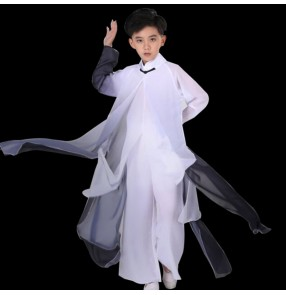 Boys Chinese wushu martial art performance costumes children's chinese classical performance clothes sword dance Tai Chi dance clothes teenager fan dance clothes
