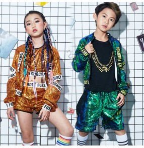 Boys girls Green gold sequined hip-hop jazz dance costumes tide girls street jazz dance costumes children's drum gogo dancers singers performance outfits