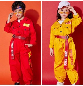 Boys girls hiphop street dance costumes children kids modern dance gogo dancers model show performance tops and pants