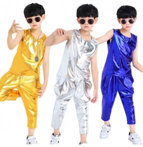 Boys hiphop street jazz dance costumes kids glitter drummer stage performance modern dance show school competition dance outfits