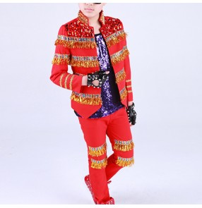 Boys jazz dance costumes host chorus singers red white England style modern dance model show drummer stage performance coats and pants outfits