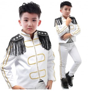 Boys jazz dance costumes kids children white colored modern dance band drummer host singers stage performance jacket and pants