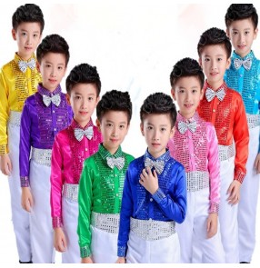 Boys jazz dance costumes modern dance singers chorus school competition stage performance tops shirts and pants