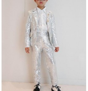 Boys jazz dance silver blue sequin costumes modern dance street drummer  show party stage performance coat and pants outfits