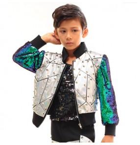 Boys jazz dance tops jackets glitter modern dance silver gold drummer stage performance dj singers host chorus professional coats