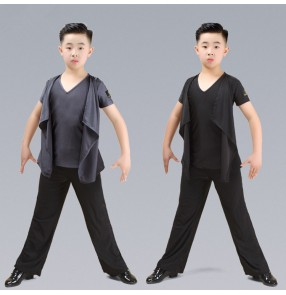 Boys kids children ballroom latin dance shirts and wide leg pants school competition gymnastics stage performance tops and trousers