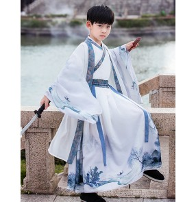 Boys kids Chinese Hanfu Young Master's Clothes Chinese School Clothes Swordsman Warrior Drama cosplay robe for boy Xmas Birthday Party Tang Costume