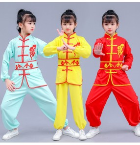 Boys kids chinese kungfu wushu costumes girls children stage performance martial taichi traning uniforms