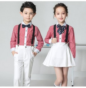 Boys kids girls children kindergarten stage performance school uniforms chorus read graduation performance outfits costumes