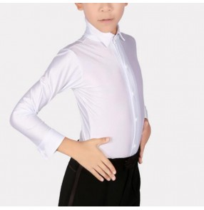 Boys kids white black latin ballroom dance shirts tops stage performance latin dance body shirts