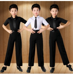 Boys kids white black Latin short-sleeved shirts and pants ballroom Latin dance clothes Children Physical Examination Competition clothing