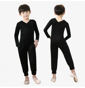 Boys latin dance shirts and pants modern dance ballet dance tops and pants for kids pratice fitness dance outfits for boys