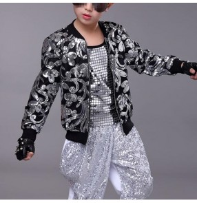 Boys modern jazz dance jacket gold silver pailletter pattern fashion drummer singers host stage model show performance coats