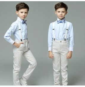 boys modern jazz singers host performance suit white striped costumes flower boys party show catwalk shirts and pants