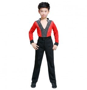 Boys red fuchsia Latin dance shirts and pants kids Latin stage professional examination competition practice clothes children's Latin dance costumes