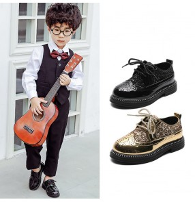 Boys singers host model show stage performance shoes for kids gold silver black sequin pu leather rubble soles Primary school British style boy performance shoes