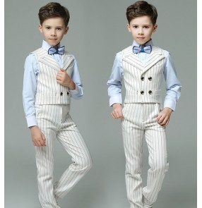 Boys singers host stage performance costumes kids white striped England style piano performance tops and pants
