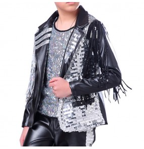 Boys street modern dance jazz singers host jacket silver paillette  black leather punk rock stage performance fashion show performance coats
