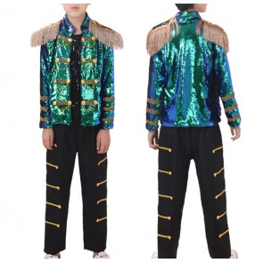 Boys street modern dance outfits sequins jazz singers model drummer stage performance competition costumes coat and pants