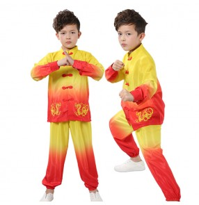 Boys traditional chinese wushu martial taichii uniforms kids children school competition stage performance kungfu suits costumes