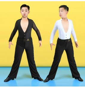 Boys V neck white black long sleeves ballroom latin dance shirts and pants kids children modern latin ballroom dance clothes for boy