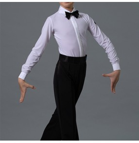 Boys white Latin Dance One-piece body Shirt Collar Children Standard Ballroom Dance tops Competition Performance shirts for kids