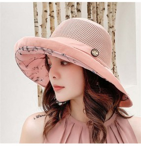 Breathable sunscreen big brim hat outdoor ladies cotton and linen fisherman hat sunscreen sunshade sun protection foldable beach hat
