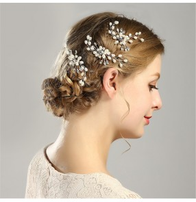 Bridal hairpin white pearl hairpin bridal wedding accessories headdress for women
