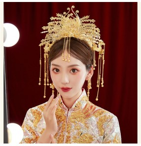 Bridal Headdress photos cosplay headgear Chinese ancient tang han dynasty empress queen princess wedding phoenix coronet costume hair accessory