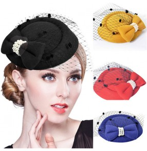 Bridal headwear fedoras pillbox hats Korean style stewardess hat hairpin fascinators headwear hat hairpin veil lace bow