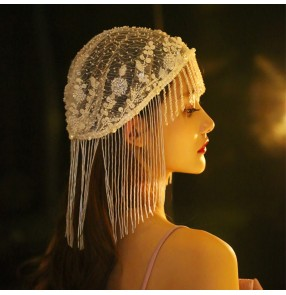 Bridal photos shooting bling tassel hat handmade white sequins beaded crystal hat hair accessories stage performance dance cosplay headdress