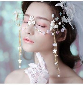 Bridal photos shooting eye masks Korean personality flower forest art fairy cosplay face masks trend tassel glasses wedding accessories