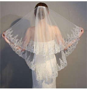 Bridal Veil Elbow Length Veil Short Wedding Veils With Lace Appliques Sequin white ivory Veils Wedding Accessories