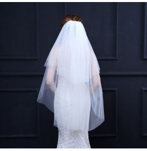 Bridal veil wedding dress accessories simple double layer soft mesh yarn veil with hair comb