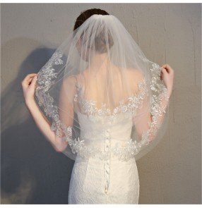bridal Wedding dress Veil European and American Double Layer Short Exquisite Lace tulle Veil wedding accessories for bride